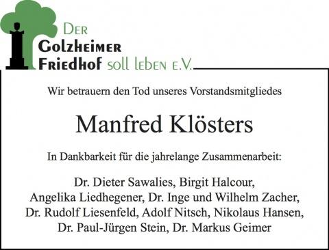 Traueranzeige Manfred Klösters